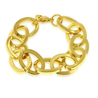 """Estate & Vintage $6500 18k Yellow Gold Over-Oval Link 7.5"""" Bracelet For Unisex"""