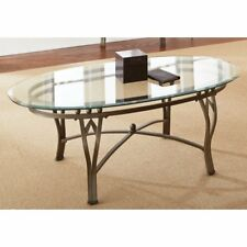 Bevelled Tempered Glass-Top Oval Coffee Table Livingroom Furniture