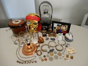 bulk lot mens vintage items - barware, collectibles, clock, coins, jewellery,etc