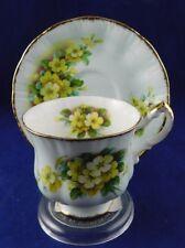 Paragon Bone China England Tea Cup & Saucer Yellow Flowers Gold Trim