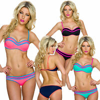 Damen Bikini Set Träger Top Bandeau Midi Slip S 34 36 Push up Badeanzug Marine