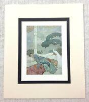 1909 Antique Edmund Dulac Print The Rubaiyat of Omar Khayyam Young Girl Peacocks