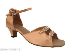 Women's WestCoast Swing Salsa Dance Shoes Size 8.5 low Heel 1.3 Brown Satin 1620
