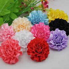 10pcs Ribbon Flowers Carnation Appliques Craft Sewing Wedding Decoration F150