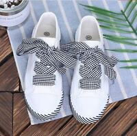 Platform Pumps Low Top Round Toe Lace Up Casual Canvas Women's Flat Shoes Ths01