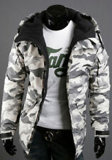 Mens Warm Camo Jacket Hooded Winter Military Zipper Parka Padded Coat Overcoat