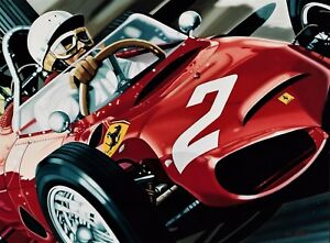 Phil Hill 90 x 70 cms limited edition F1 art print by Colin Carter