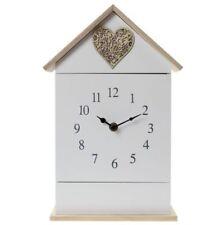 LOVE HEART HOUSE SHAPE CLOCK WALL MOUNTED WITH KEY HOLDER SIX HOOK