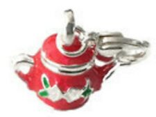CHRISTMAS RED &SILVER TEA POT WITH PATTERN CLIP ON CHARM FOR BRACELETS - 3D-S/P
