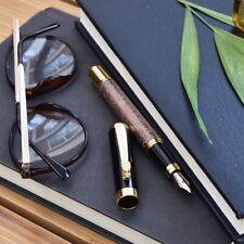 Luoshi Antique Copper Dragon Fountain Pen Two Tone Gold Plated Steel Nib