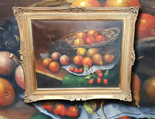 Still Life with Fruits and Obst. Original Oil Painting, Signed Recharger