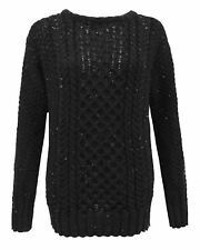 LADIES ARAN CABLE KNIT KNITTED JUMPER SWEATER WOMEN PULLOVER TOP PLUS SIZE 16-30