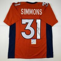 Autographed/Signed JUSTIN SIMMONS Denver Orange Football Jersey PSA/DNA COA Auto