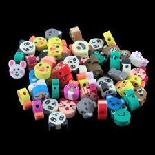50x Mixed Cartoon Cat/Monkey/Frog/Bear Animal Polymer Clay Loose Beads Charm 9mm