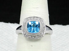 14k White Gold Swiss Blue Topaz Diamond  Samuel Benham Ring