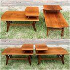 Vtg Mid Century Danish Modern End Side Step Table Set 2 Walnut Wood MCM