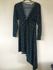 Asos Navy & Green Polka Dot Asymetrical Dress Size 10 Twist Front Summer Party