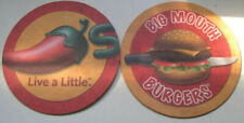 2 Chili's Big Mouth Burger Collectible Pulp Board Drink Coasters Restaurant Bar