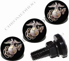 4 Black Billet Aluminum License Plate Frame Fastener Bolts - Marine Corps USMC