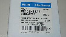 Eaton Cutler Hammer CE15ANS3AB Contactor Relay Size E 3 Pole 120VAC 25 amp 7.5 h