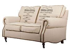Eiffel 2-Sitzer Classic-Sofa Leinen Vintage creme weiß 2er Couch Zweisitzer NEU