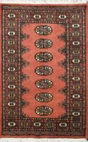 Traditional Handmade Modern Bokhara Area Rug Pink/Black 100% Wool Rugs (2.5 x 4)