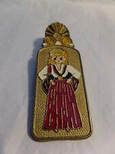 Vintage Brass Desk Top Paper Clip Holder Girl & Boy Dancers