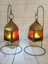 MOROCCAN LANTERN CANDLE HOLDERS COPPER METAL SET OF 2 SMALL TEA LIGHT HOLDERS