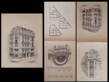PARIS, 16 RUE D'ABBEVILLE -GRAVURES ARCHITECTURE 1900 GEORGES MASSA, ART NOUVEAU