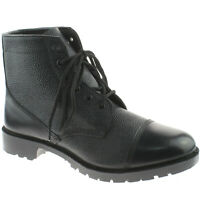 Mens Grafters High Shine Black Leather Cadet 6 Eyelet Boots M166A KD