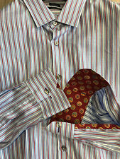 "Paul Smith Multistripe Shirt 17"" Slim Fit Single Cuff Made in Italy RRP £160"