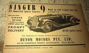 1950 SINGER NINE 9 ROADSTER Australian Sales Advert