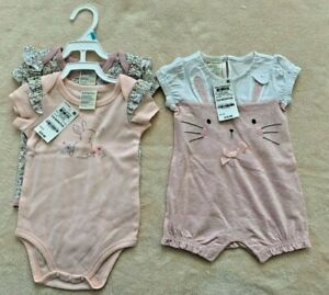 Lot of 3 First Impressions Baby One Piece Rompers 3-6 Months Bunny Theme Sunsuit