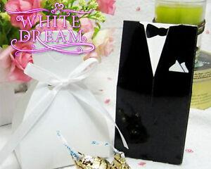 Bride Dress & Groom Tux Wedding Favour Boxes | Black & White | Tux & Gown