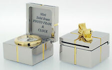 Miniature Novelty Gift Box Clock in Solid Brass