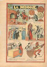 Humour la Monnaie à l'Âge de Pierre Troc Métal Papier Assignat Ecu Singe 1933
