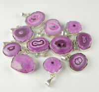 Natural Solar Druzy Gemstone Handmade 925 Sterling Silver Plated Pendant Lot