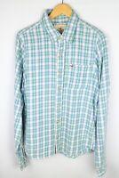 Hollister Men Casual ShirtWhite Blue Check Cotton size XL