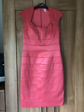 SANGRIA Coral Red Satin Wiggle Pencil Evening Cocktail Party Dress UK 10 / US 6
