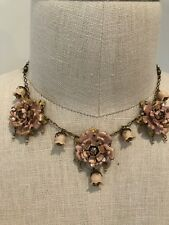 Michal Negrin Gold Tone Rose Necklace Crystal Beads Vintage Antique Style Floral