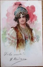 Art Nouveau 1902 Postcard: Woman in Asian/Middle-Eastern Clothing, Color Litho
