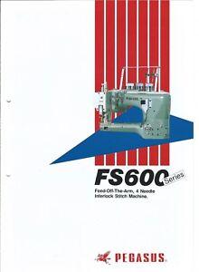 Sewing Machine Brochure - Pegasus - FS600 series - 4 Needle - 1988 (E3930)