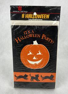 Pack of 8 HALLOWEEN Party Invitations Cards American Greetings Pumpkin Black Cat