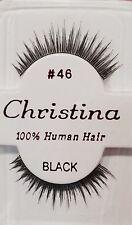 CHRISTINA FALSE EYELASHES #46_100% HUMAN HAIR ( 1 PAIR BLACK)