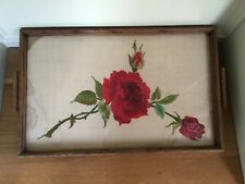 Vintage Wooden Glass Tray with a Red Rose Hand Embroidered Cloth