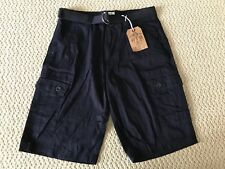 NWT Men's OTB Dark Navy Blue Cotton Cargo Pocket Shorts w/ Belt SIZE 32 ONLY