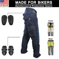 Men Motorbike Motorcycle jeans inforced Aramid Fabric Protective Armour Trousers