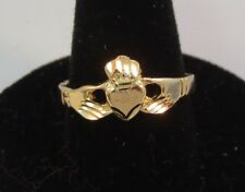 14KT GOLD EP CLADDAGH IRISH CELTIC WEDDING  RING  , SIZE 6