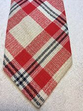 Vintage Atleigh Mens Tie 4.5 X 58 Red With White And Black Plaid Pattern