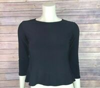 Sympli Top Size 4 Womens Black Shirt Peplum Flare Sleeve Knit 3/4 Stretch Jersey
